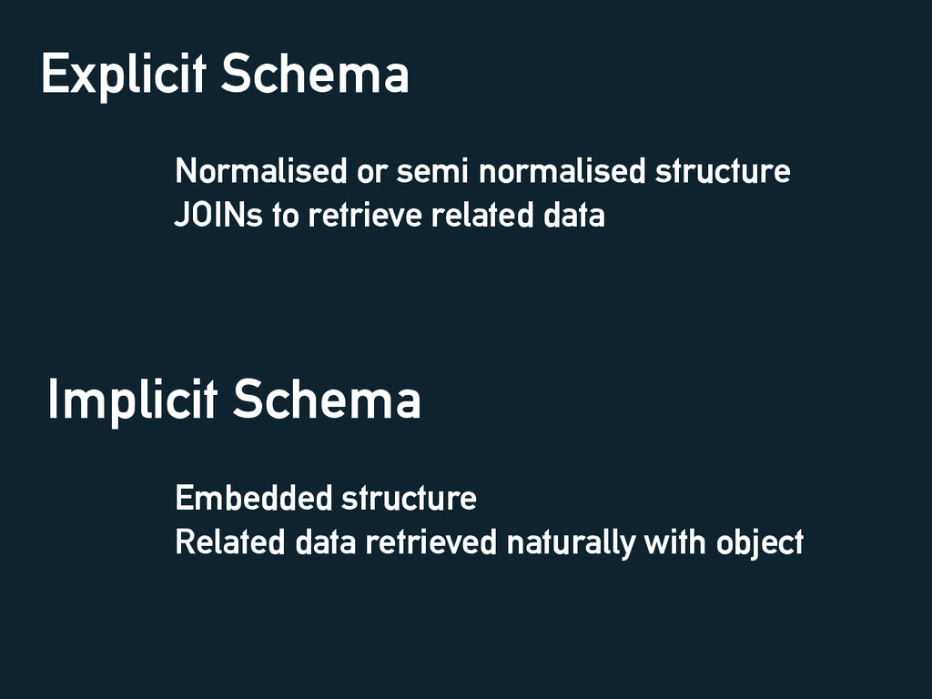 Explicit Schema Normalised or semi normalised s...