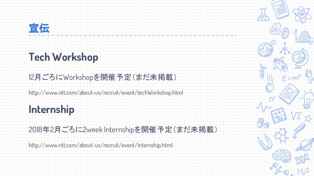 Tech Workshop 12月ごろにWorkshopを開催予定(まだ未掲載) http:/...