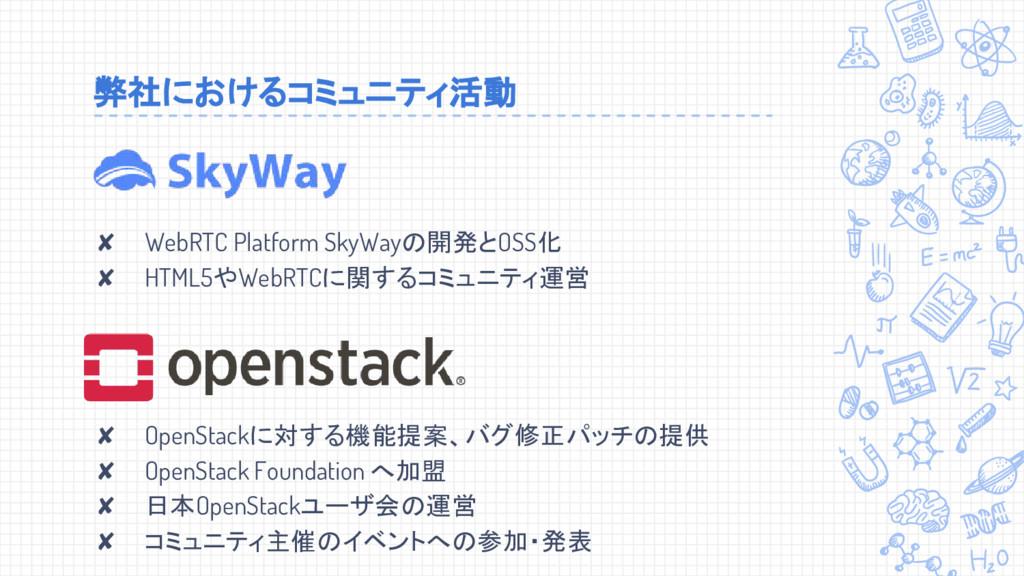弊社におけるコミュニティ活動 ✘ WebRTC Platform SkyWayの開発とOSS化...