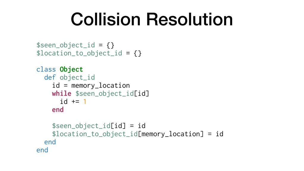 Collision Resolution $seen_object_id = {} $loca...