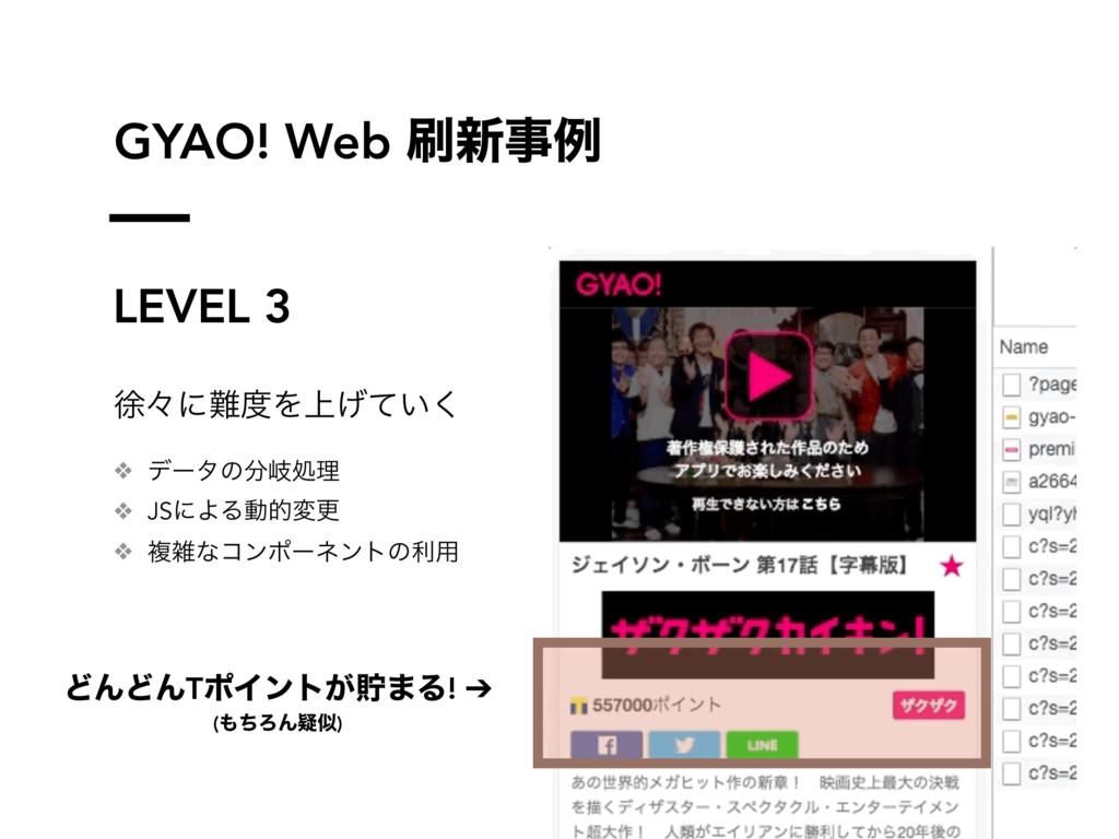 GYAO! Web ৽ࣄྫ LEVEL 3 ঃʑʹΛ্͍͛ͯ͘ ❖ σʔλͷذॲཧ ❖...
