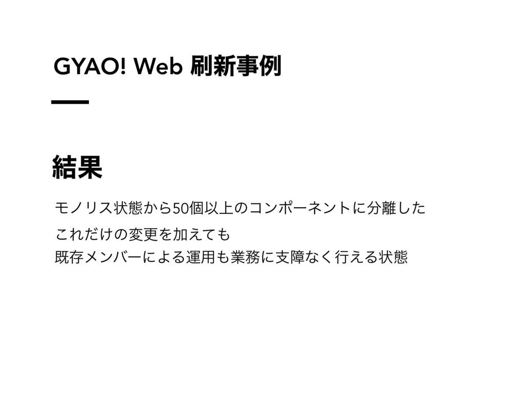 GYAO! Web ৽ྫ ݁Ռ ϞϊϦεঢ়ଶ͔Β50ݸҎ্ͷίϯϙʔωϯτʹͨ͠ ͜Ε...