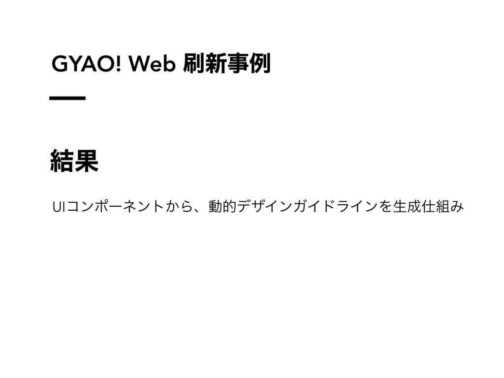 GYAO! Web ৽ࣄྫ ݁Ռ UIίϯϙʔωϯτ͔ΒɺಈతσβΠϯΨΠυϥΠϯΛੜΈ