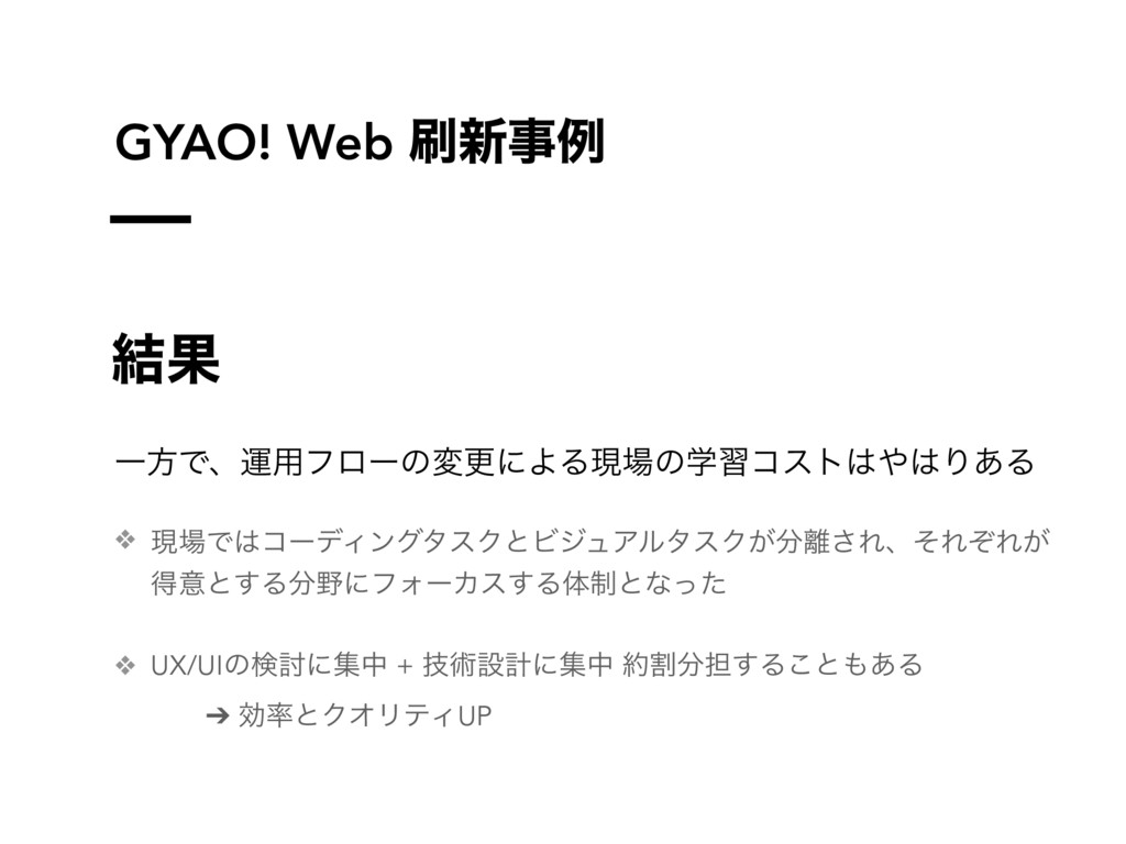 GYAO! Web ৽ྫ ݁Ռ ҰํͰɺӡ༻ϑϩʔͷมߋʹΑΔݱͷֶशίετΓ͋Δ...
