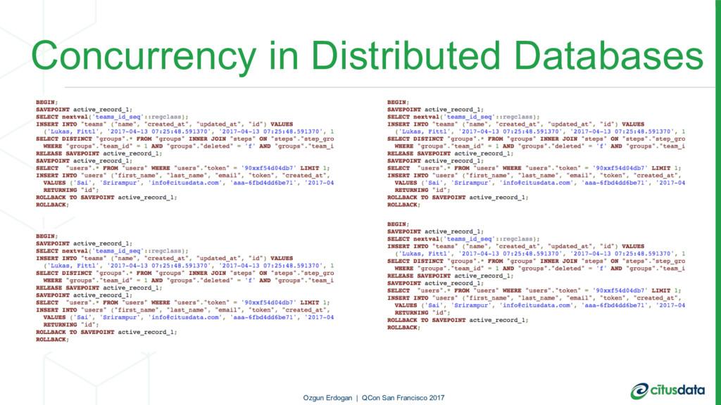 Concurrency in Distributed Databases Ozgun Erdo...
