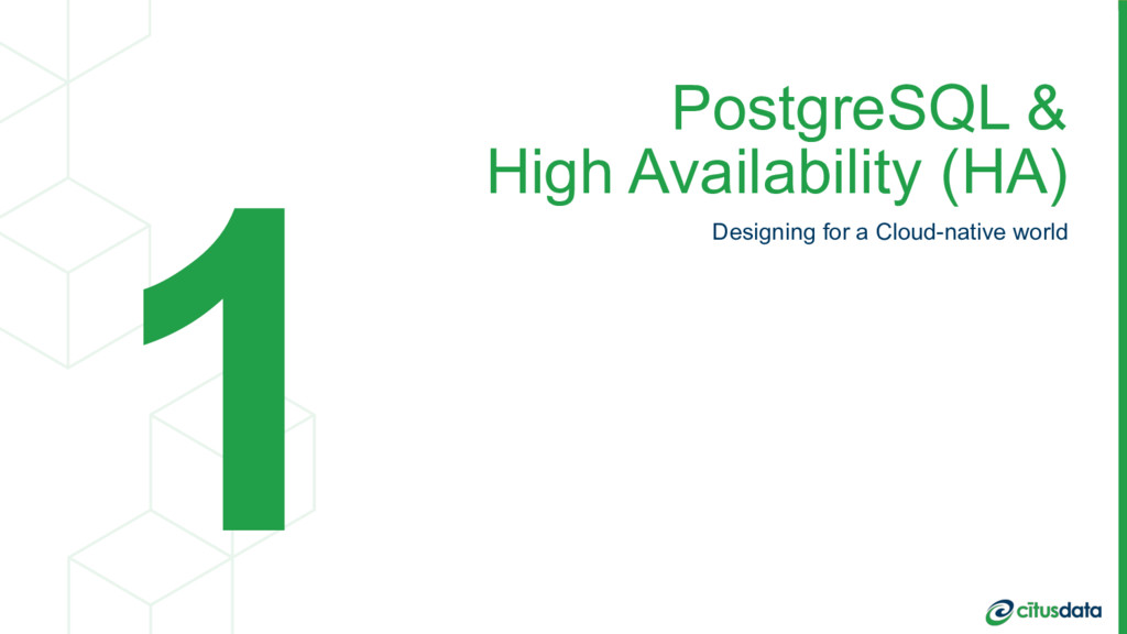 PostgreSQL & High Availability (HA) Designing ...
