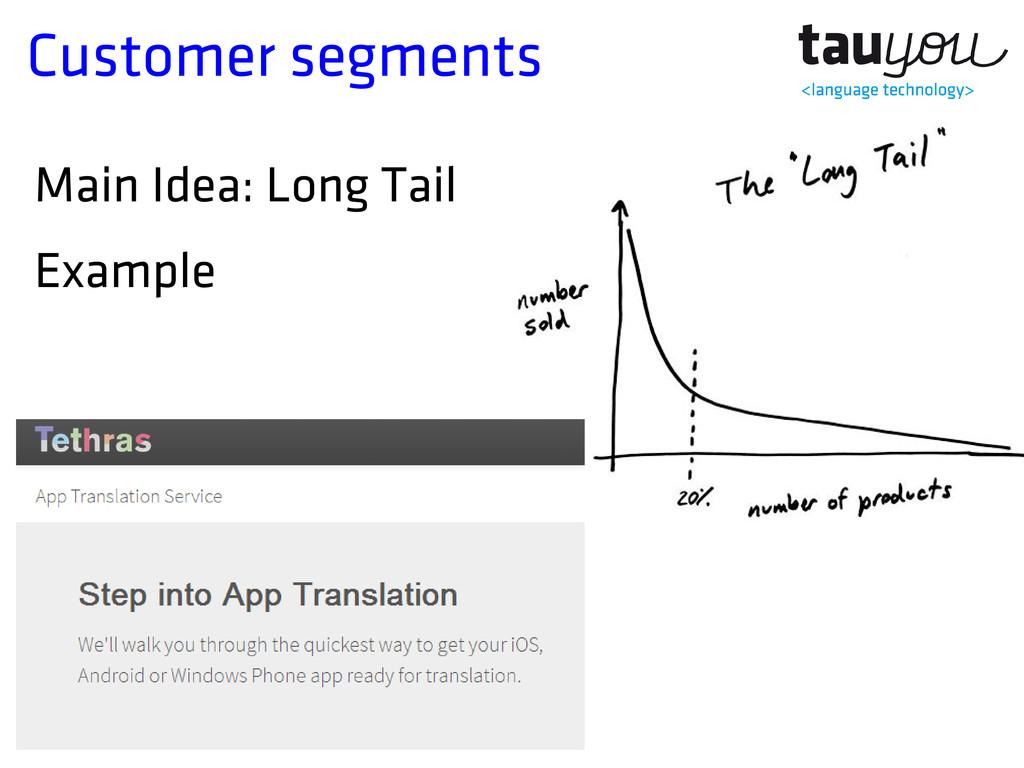 Customer segments Main Idea: Long Tail Example