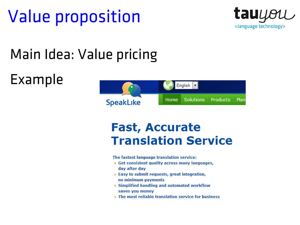 Value proposition Main Idea: Value pricing Exam...