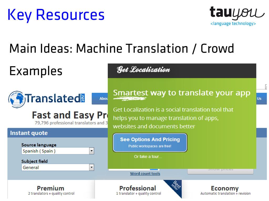 Key Resources Main Ideas: Machine Translation /...