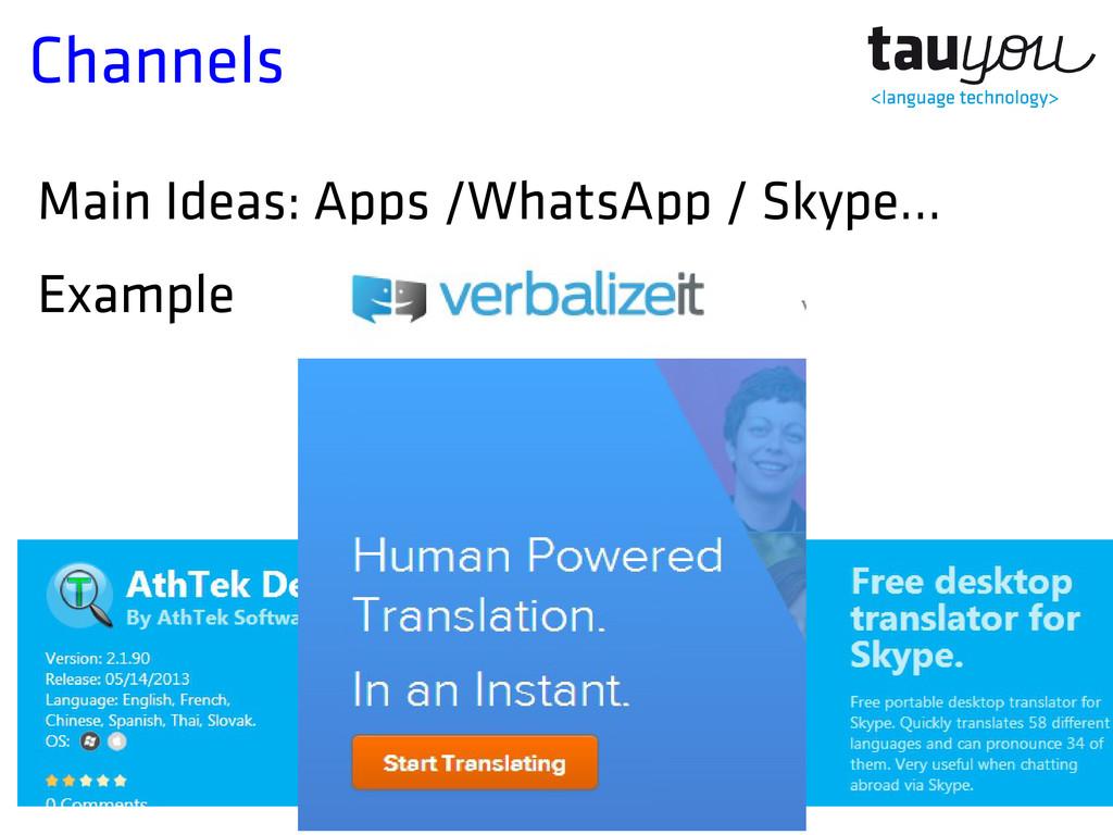 Channels Main Ideas: Apps /WhatsApp / Skype... ...
