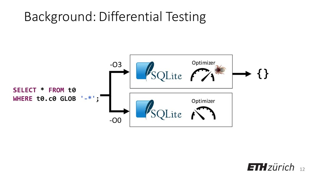 12 Background: Differential Testing SELECT * FR...
