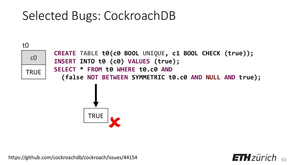 61 Selected Bugs: CockroachDB CREATE TABLE t0(c...