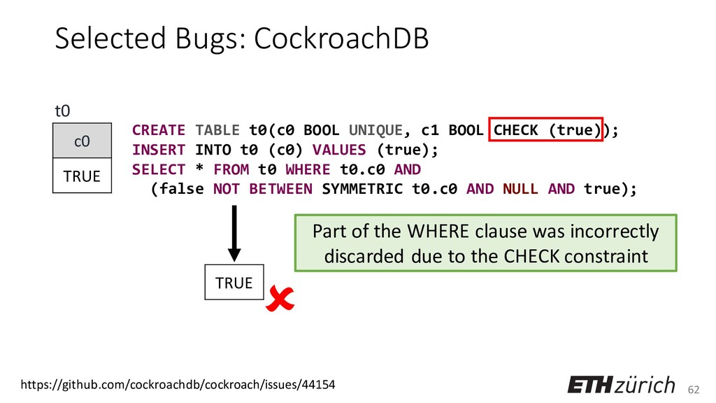 62 Selected Bugs: CockroachDB CREATE TABLE t0(c...