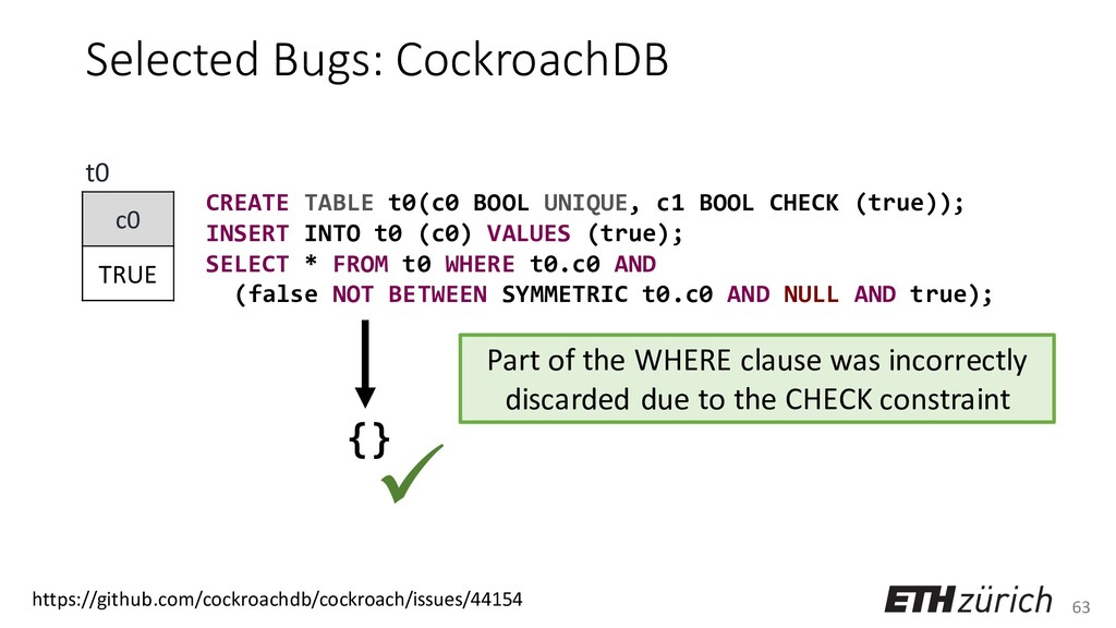 63 Selected Bugs: CockroachDB CREATE TABLE t0(c...