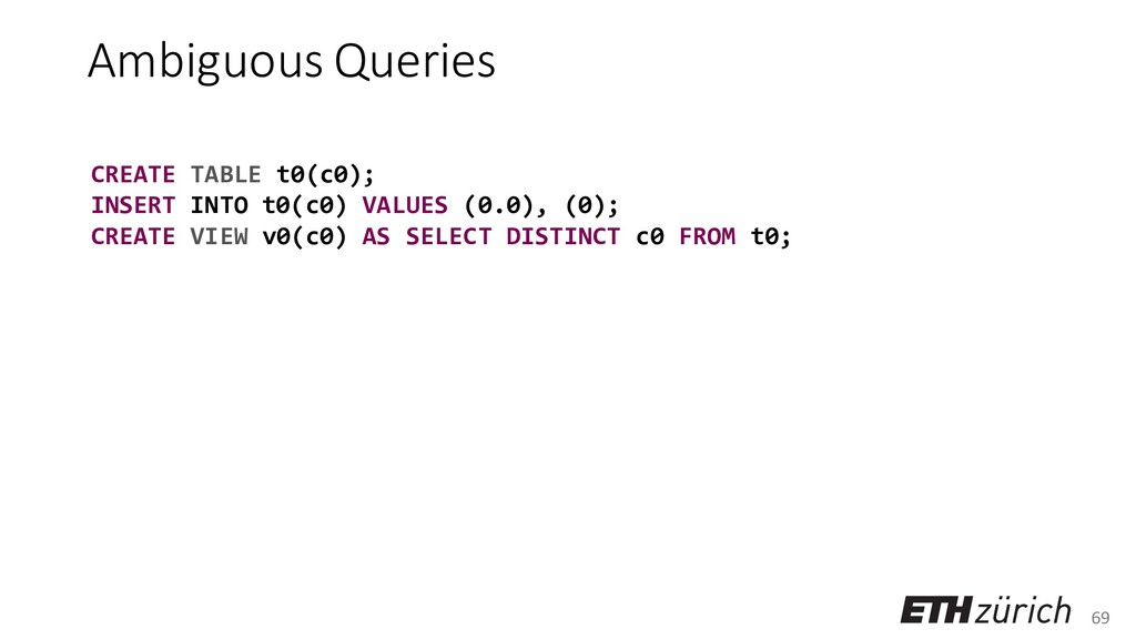 69 Ambiguous Queries CREATE TABLE t0(c0); INSER...