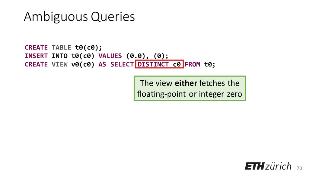 70 Ambiguous Queries CREATE TABLE t0(c0); INSER...