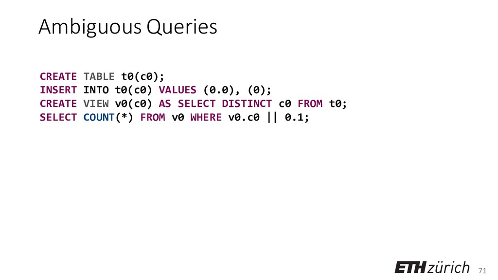 71 Ambiguous Queries CREATE TABLE t0(c0); INSER...