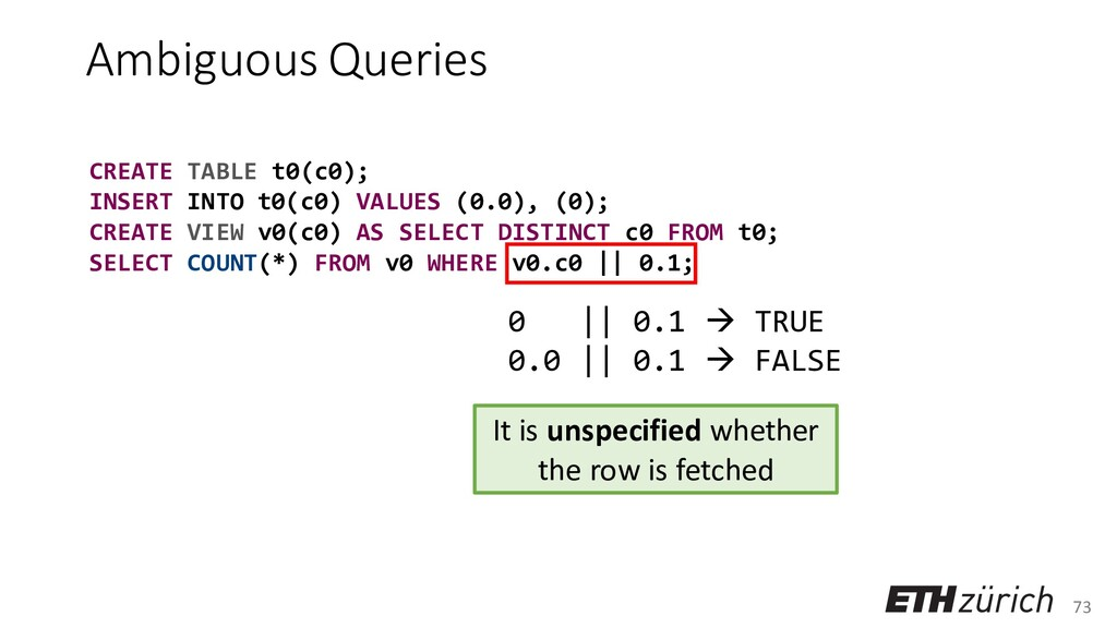 73 Ambiguous Queries CREATE TABLE t0(c0); INSER...