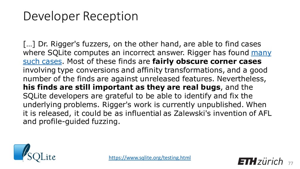 77 Developer Reception […] Dr. Rigger's fuzzers...