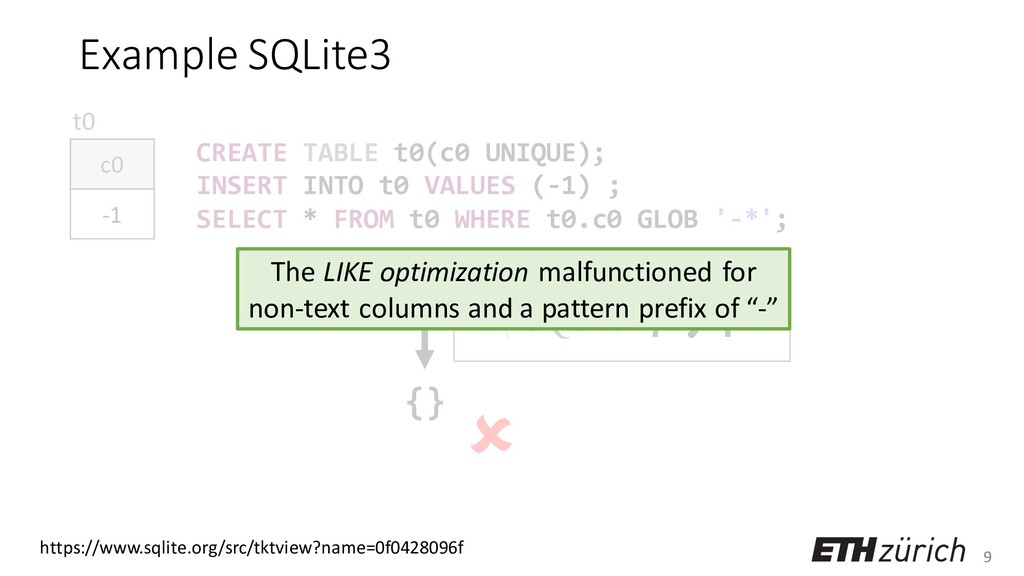 9 Example SQLite3 CREATE TABLE t0(c0 UNIQUE); I...