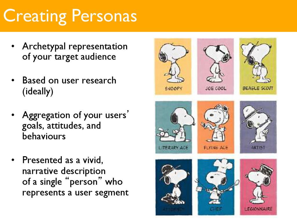 Creating Personas • Archetypal representation ...