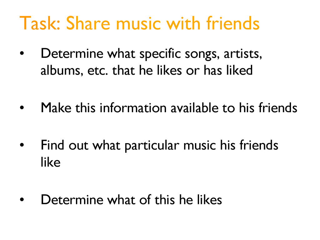 Task: Share music with friends • Determine wha...
