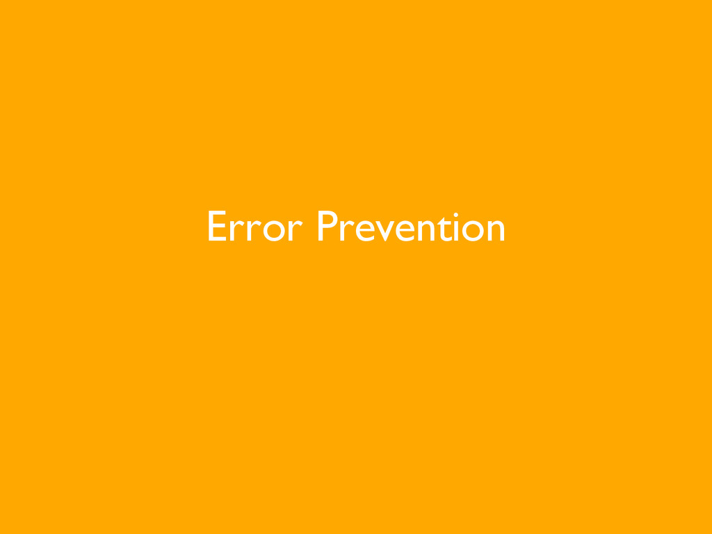 Error Prevention