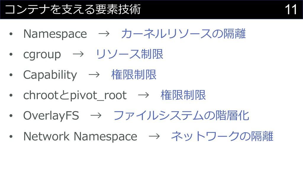 11 コンテナを⽀える要素技術 • Namespace → カーネルリソースの隔離 • cgr...