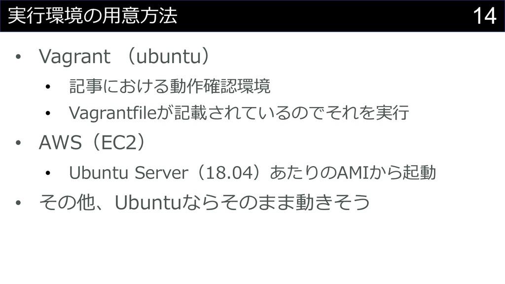 14 実⾏環境の⽤意⽅法 • Vagrant (ubuntu) • 記事における動作確認環境 ...
