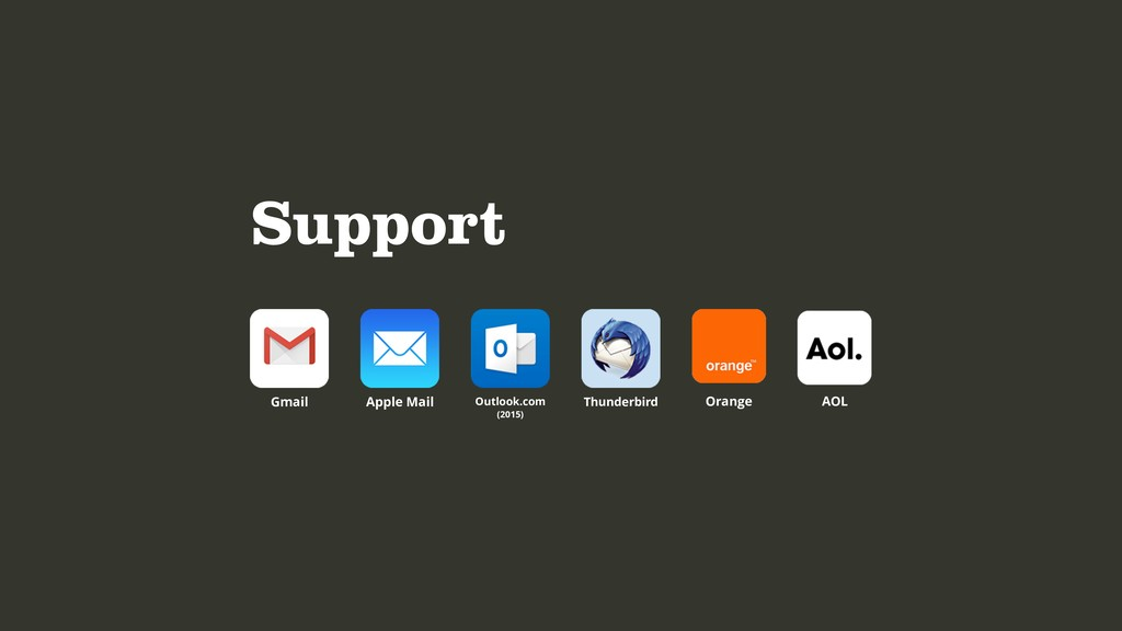 Support Apple Mail Gmail Outlook.com