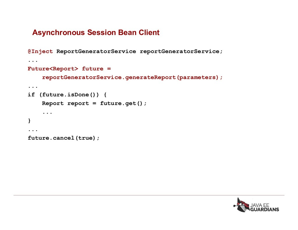 Asynchronous Session Bean Client @Inject Report...