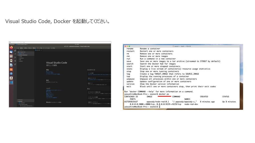 Visual Studio Code, Docker を起動してください。