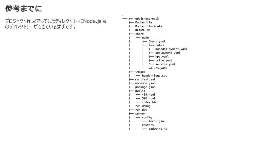 参考までに プロジェクト作成でしてしたディレクトリーにNode.js e のディレクトリーがで...