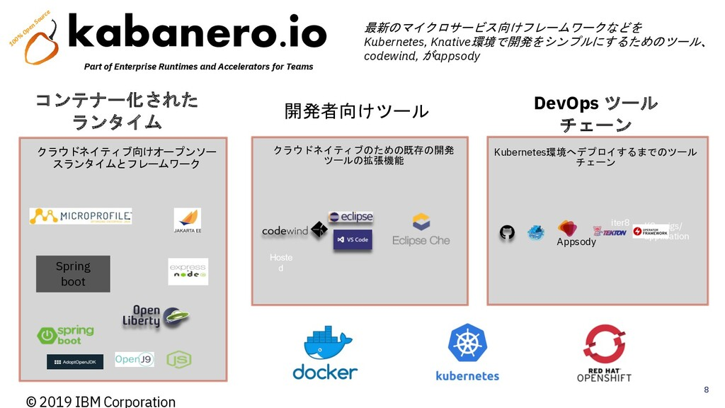 8 © 2019 IBM Corporation 開発者向けツール DevOps ツール チェ...