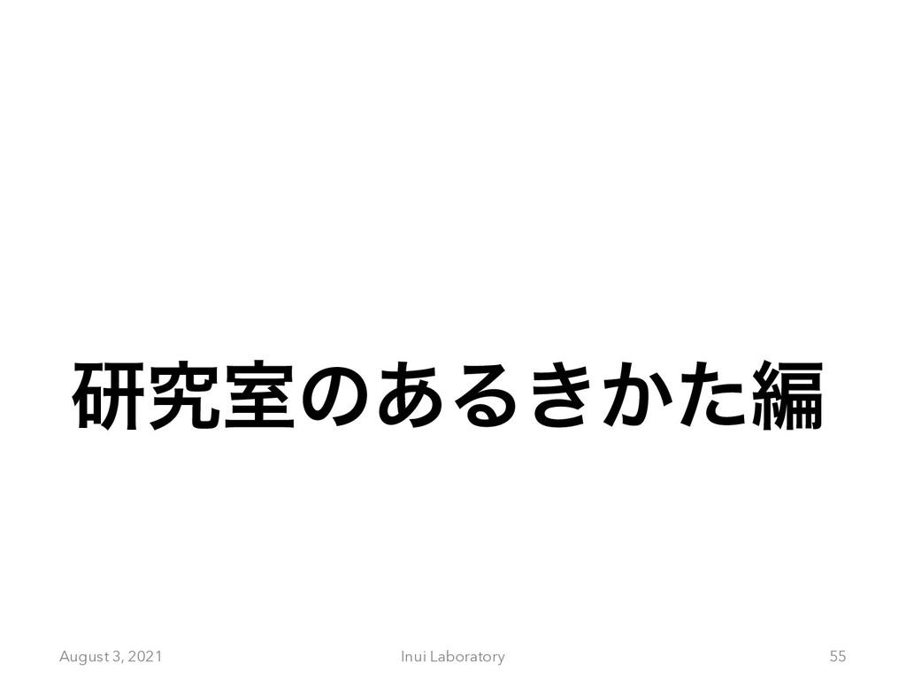 ݚڀࣨͷ͋Δ͖͔ͨฤ August 3, 2021 Inui Laboratory 55