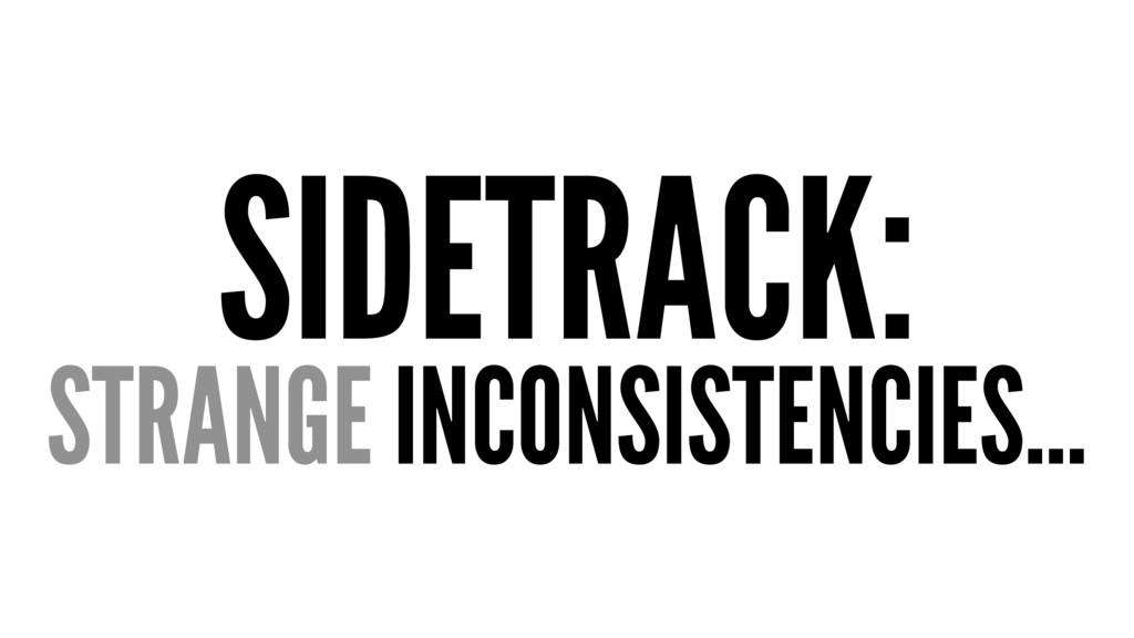 SIDETRACK: STRANGE INCONSISTENCIES...