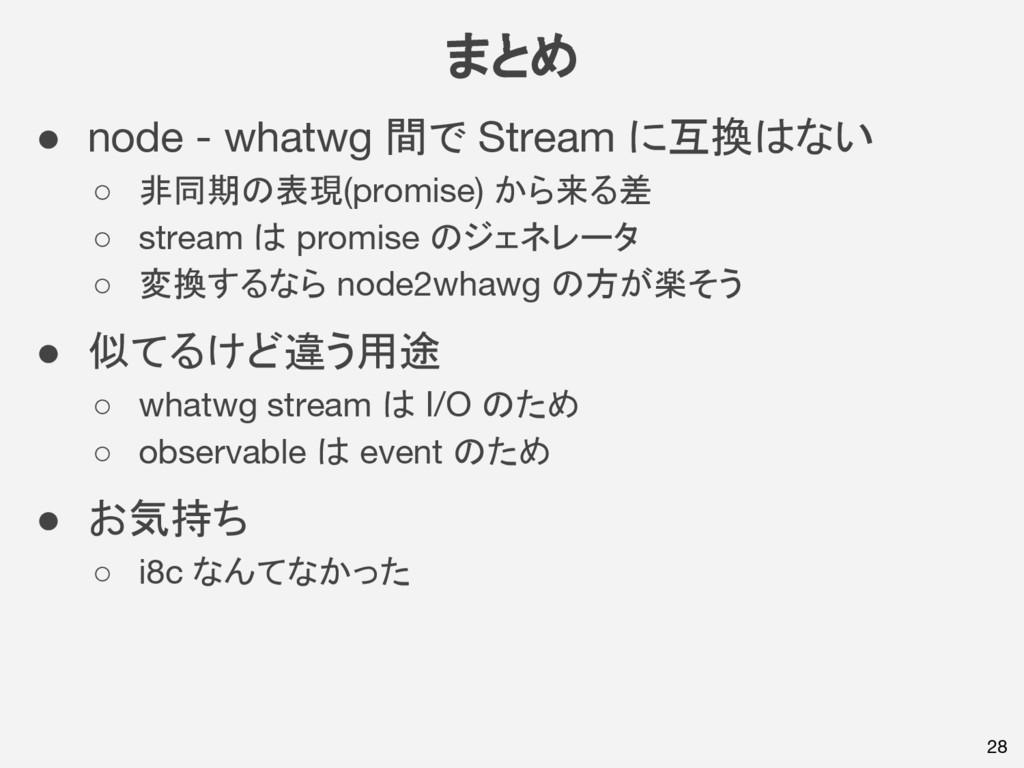まとめ 28 ● node - whatwg 間で Stream に互換はない ○ 非同期の表...