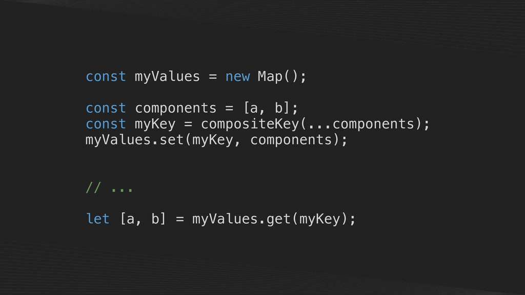 const myValues = new Map(); const components = ...