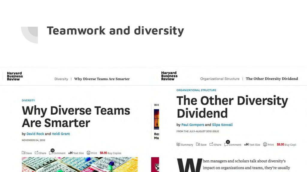 Teamwork and diversity
