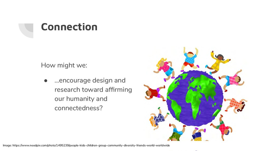 Connection How might we: ● ...encourage design ...