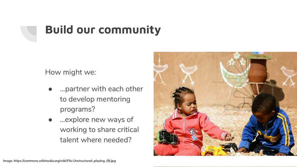 Build our community How might we: ● ...partner ...