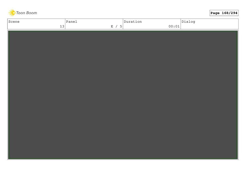 Scene 13 Panel E / 5 Duration 00:01 Dialog Page...
