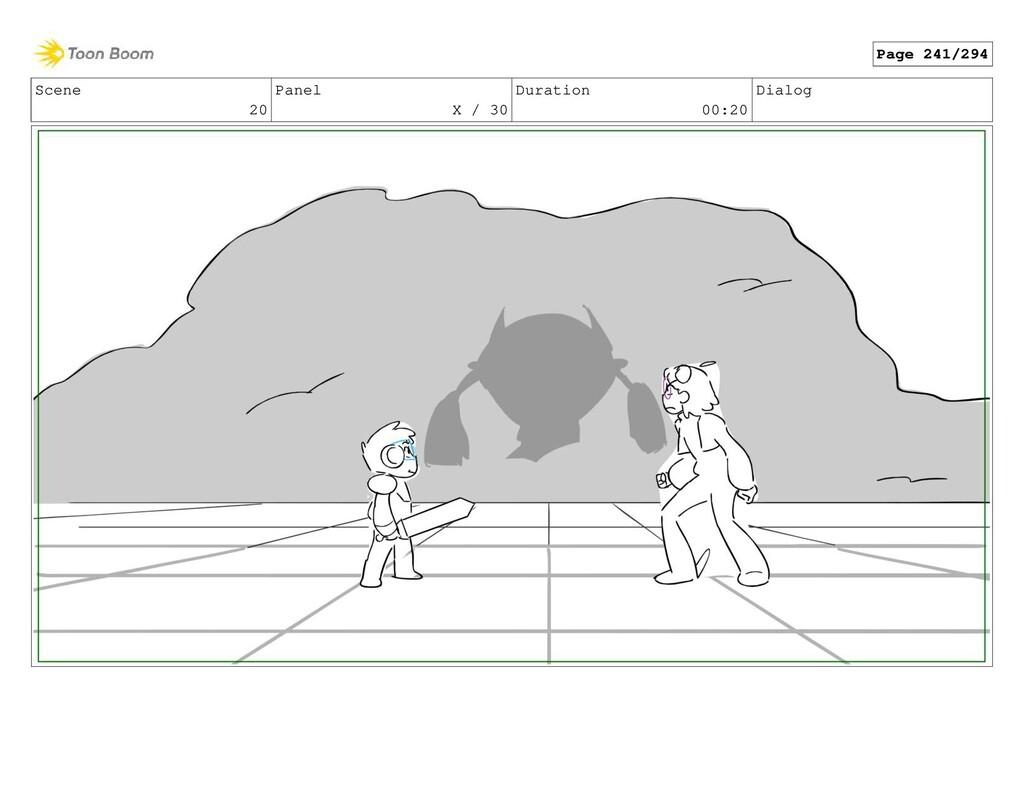 Scene 20 Panel X / 30 Duration 00:20 Dialog Pag...