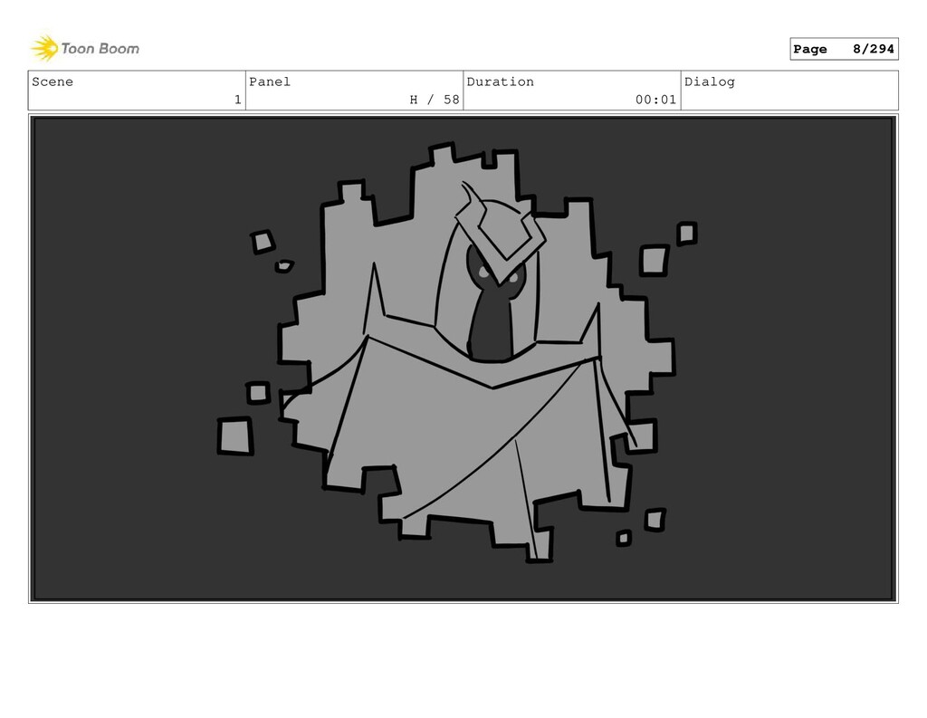 Scene 1 Panel H / 58 Duration 00:01 Dialog Page...
