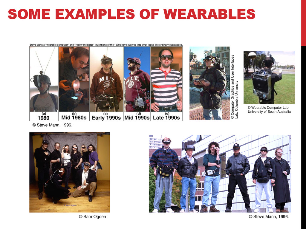 SOME EXAMPLES OF WEARABLES © Steve Mann, 1996. ...