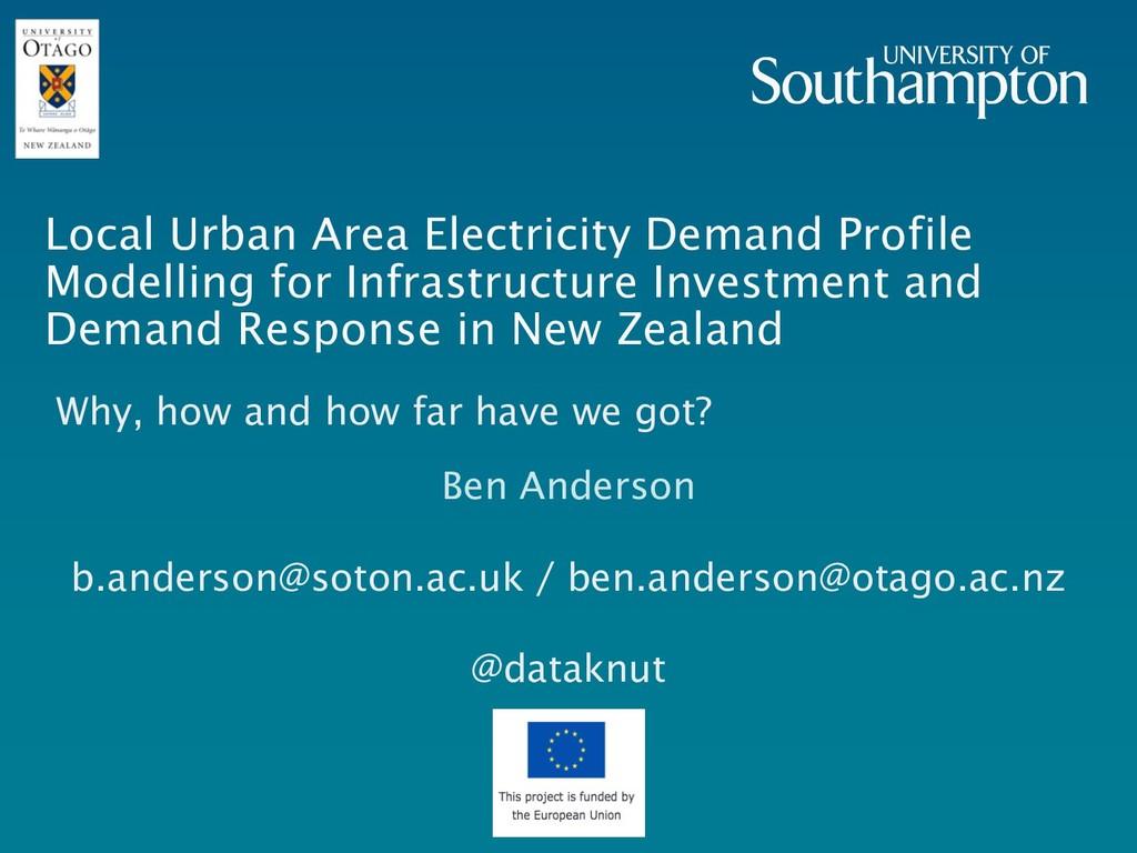 Local Urban Area Electricity Demand Profile Mod...