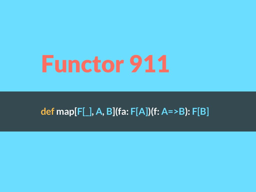 def map[F[_], A, B](fa: F[A])(f: A=>B): F[B] Fu...