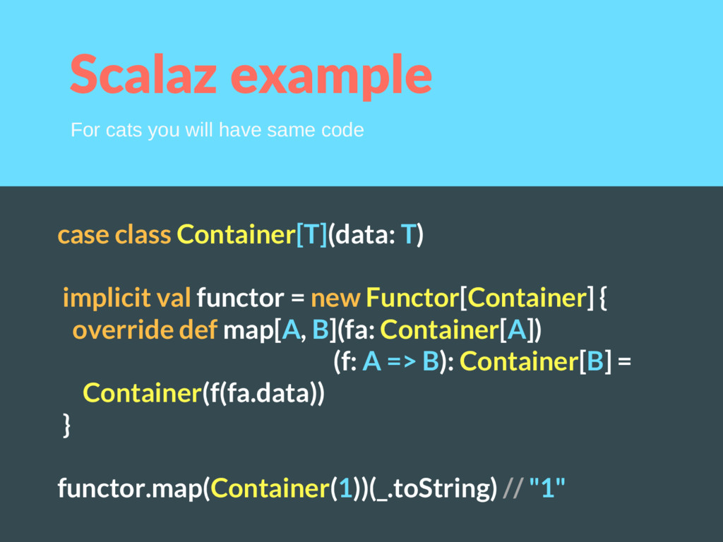 Scalaz example case class Container[T](data: T)...