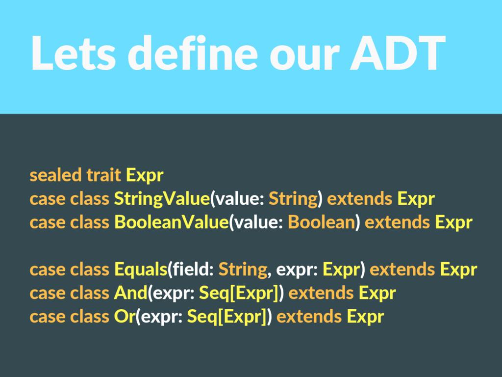 Lets define our ADT sealed trait Expr case clas...