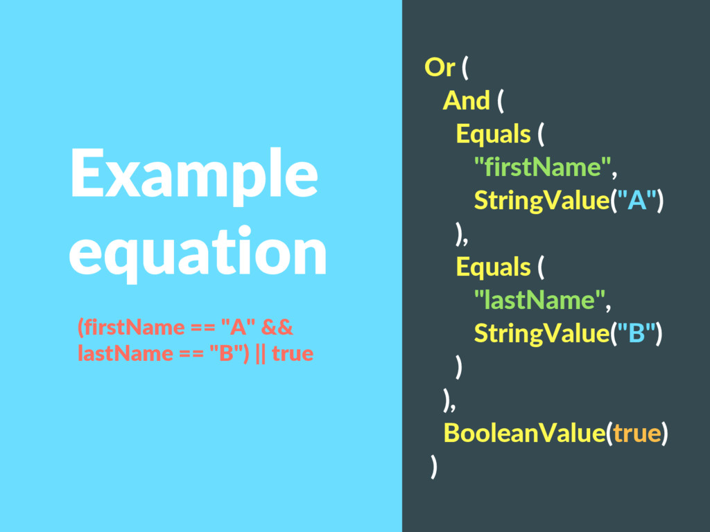 "Example equation Or ( And ( Equals ( ""firstName..."